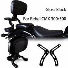 Parlak siyah sabit montaj ve sürücü yolcu arkalığı için Honda 2017 2020 Rebel CMX 300 500 modelleri