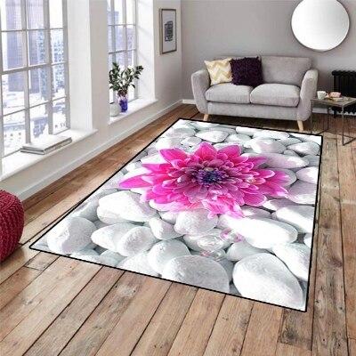 Ev ve Bahçe'ten Halı'de Başka Beyaz Gri Taşlar Pembe Çiçekler 3d Desen Baskı Kaymaz Mikrofiber Oturma Odası Dekoratif Modern Yıkanabilir Alan Kilim mat