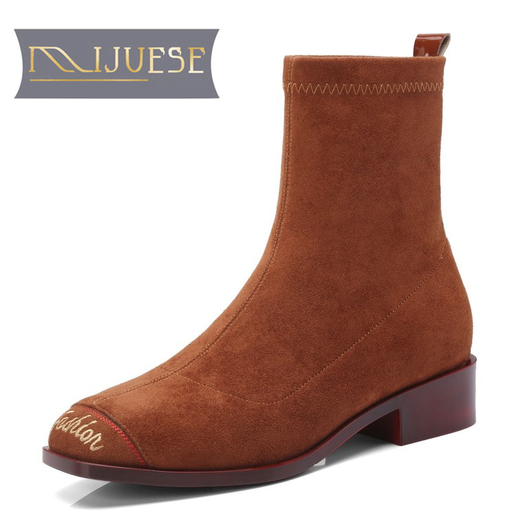 MLJUESE 2019 women Mid calf boots Kid Suede camel color low heels letter autumn spring women martin boots casual boots size 40 concise solid color and suede design women s mid calf boots