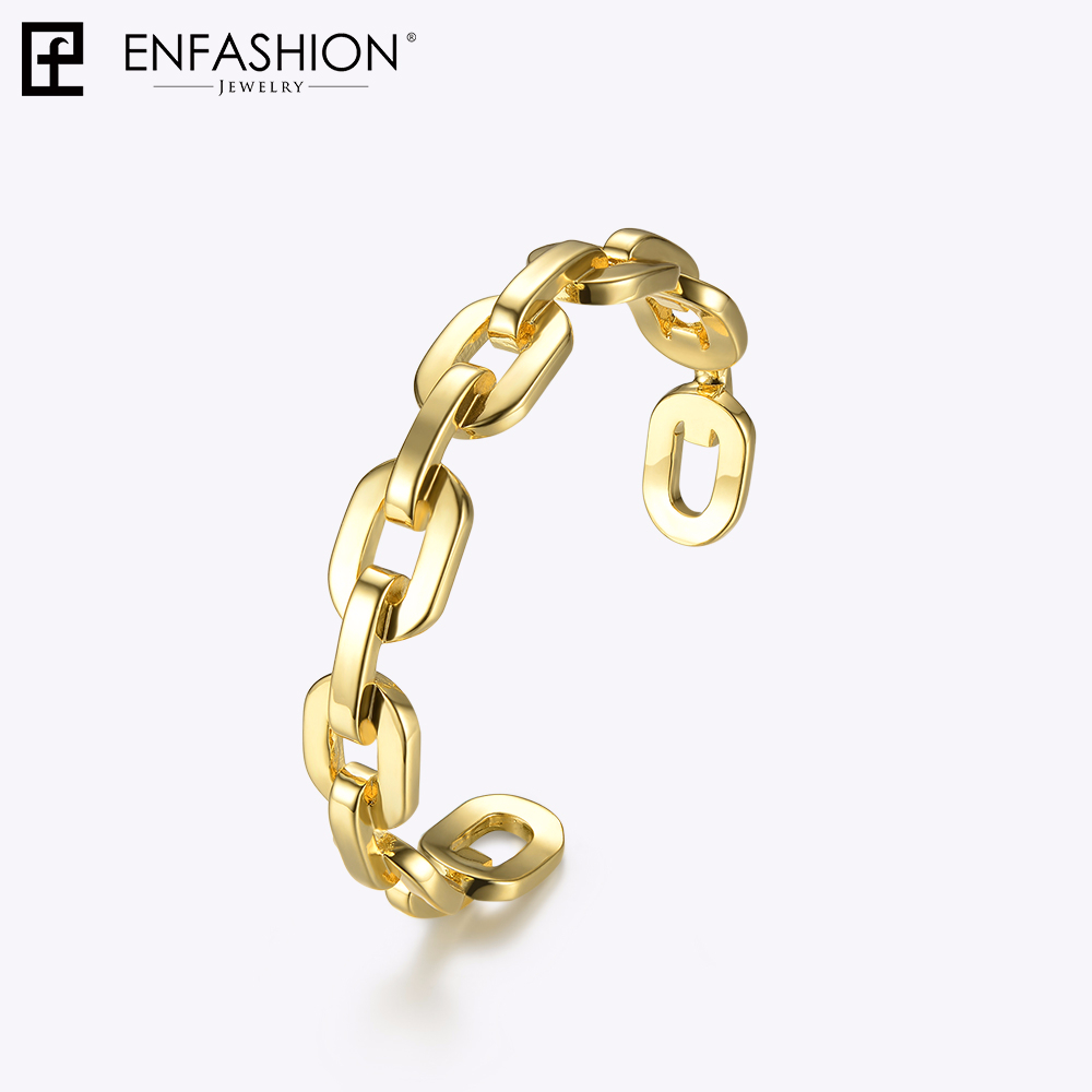 Enfashion Pure Form Medium Link Chain Cuff Bracelets & Bangles For Women Gold Color Fashion Jewelry Jewellery Pulseiras BF182033