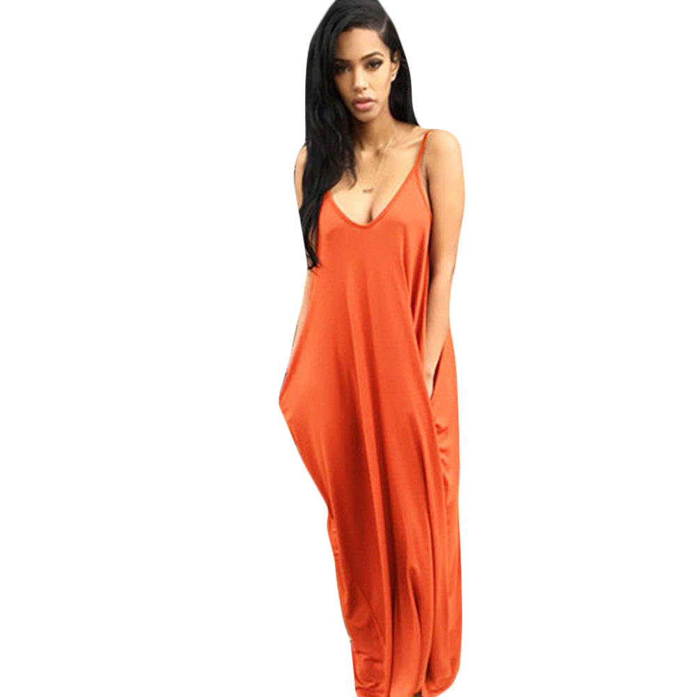 Casual Loose Maxi Dresses New Fashion Sling White Orange V Neck Pocket Big Swing Temperament Summer Backless Long Dress