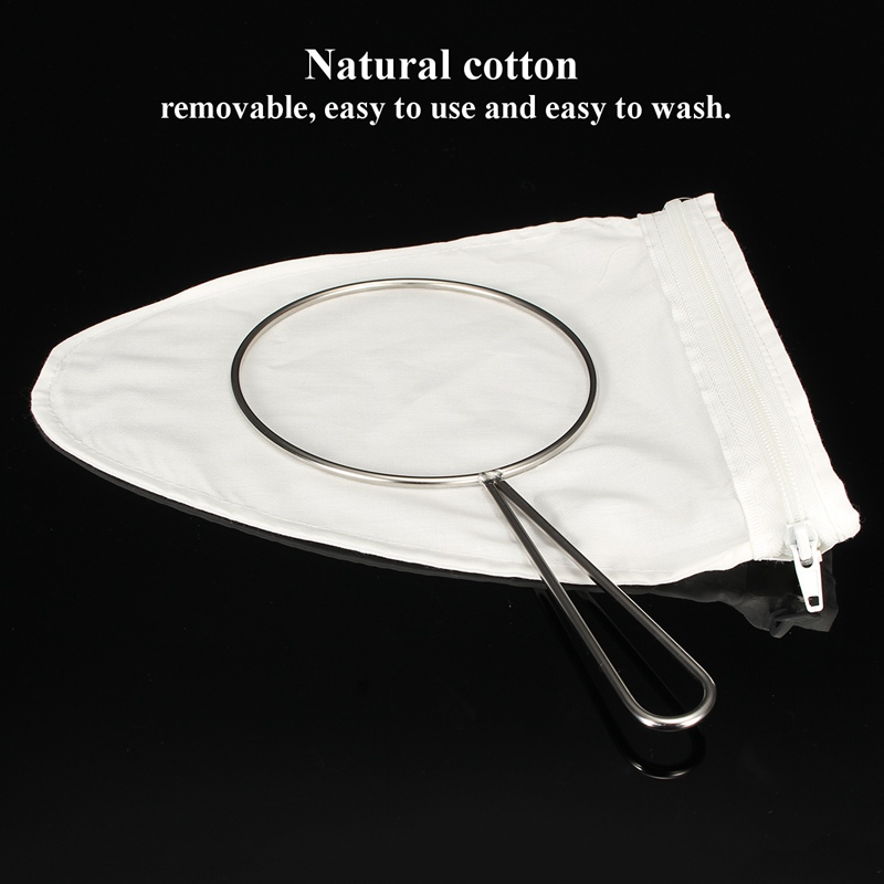 Reusable Coffee Filter Cloth With Stainless Steel Handle White Natural Cotton Tea Milk Coffee Make Filter Home durable quality dual layer solid stainless steel coffee filter dripper refillable holder handle