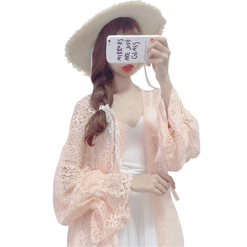 2020 Summer Loose Women Lace Blouse Hollow out Cardigan Plus Size Chiffon Beach Shirt Sunscreen Clothes Spring Girl Blusas WZ335