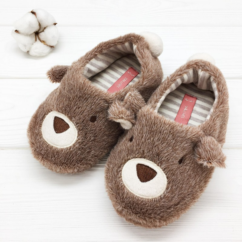 Фото - Children's slippers Halluci Bears with a backdrop halluci polar bear fluffy home slippers women shoes indoor cute slides women slippers house sapatos mulher chinelo terlik