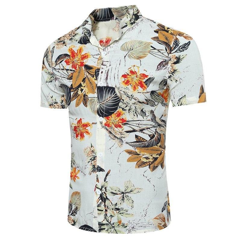 Sommer Shirt Männer 2018 Blumendruck Slim Fit Casual Top Kurzarm Hawaiihemd Beach Freizeit Männlich Shirts Plus Größe 3XL