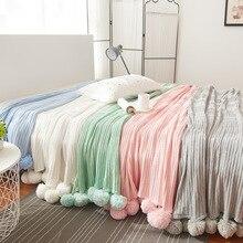 Mylb Брендовое качественное хлопковый помпон, вязаное крючком Одеяло 100*105 150*200 см для младенцев и взрослых, двухразмерная кровать, покрывало для кровати
