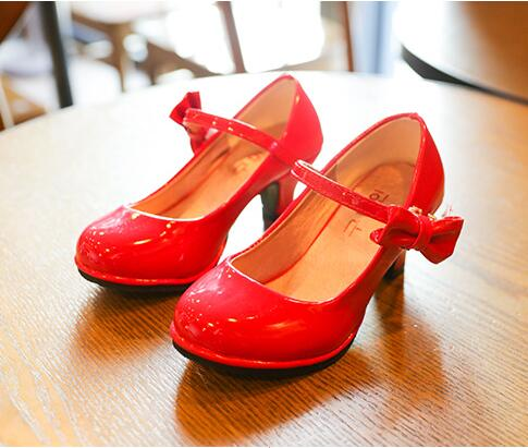 Girls Kids Shoes Fashion Girls Red Pink Princess Shoes Small High Heel Student Party Children's Leather Shoes Size 26-35