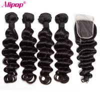 Loose Deep Wave Bundles With Closure Brazilian 2 3 4 Bundles Deals With 4x4 Lace Closure Remy Human hair Extensions ALIPOP