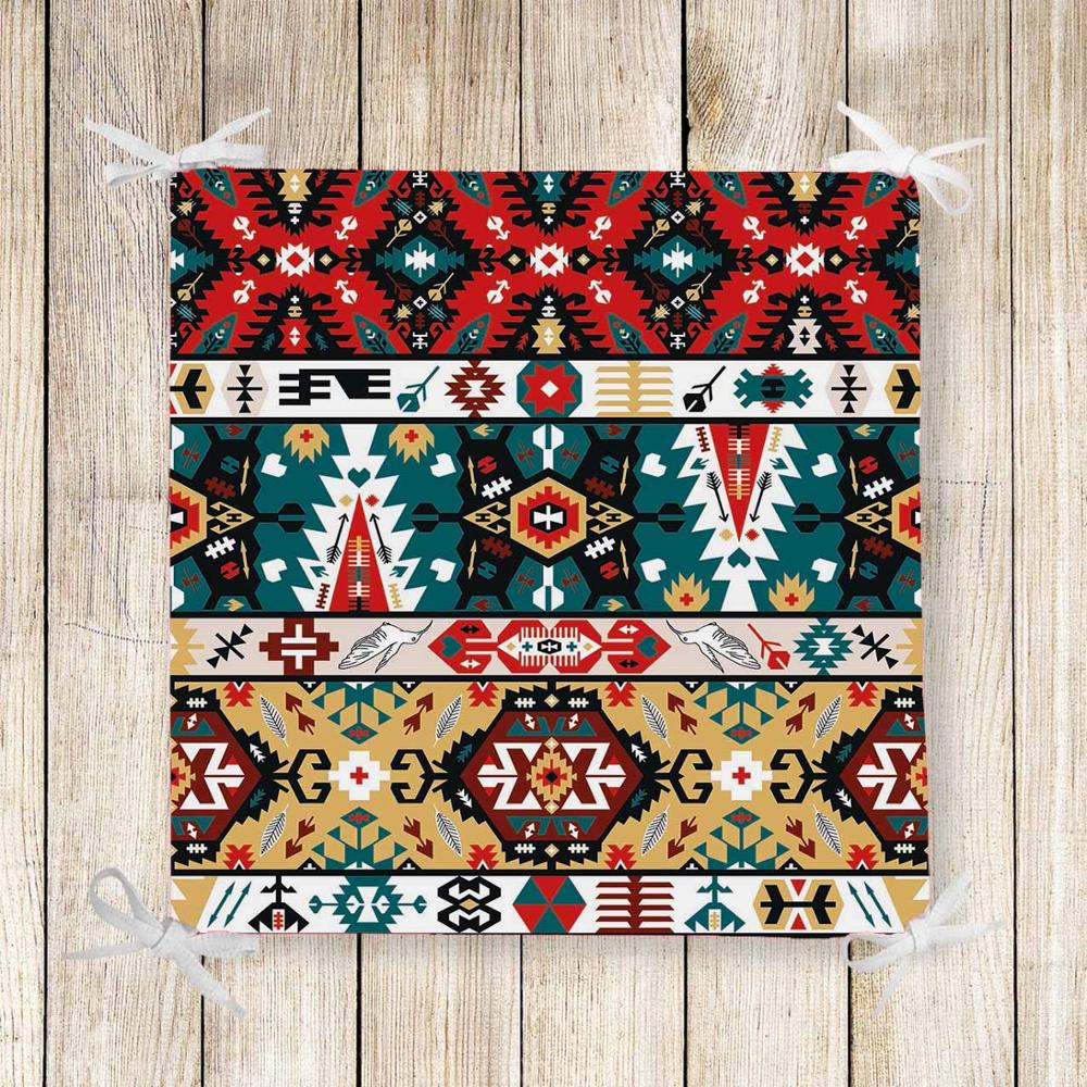 Else Red Green Brown Aztec Ethnic 3d Print Chair Pad Seat Cushion Soft Memory Foam Full Lenght Ties Non Slip Washable Zipper