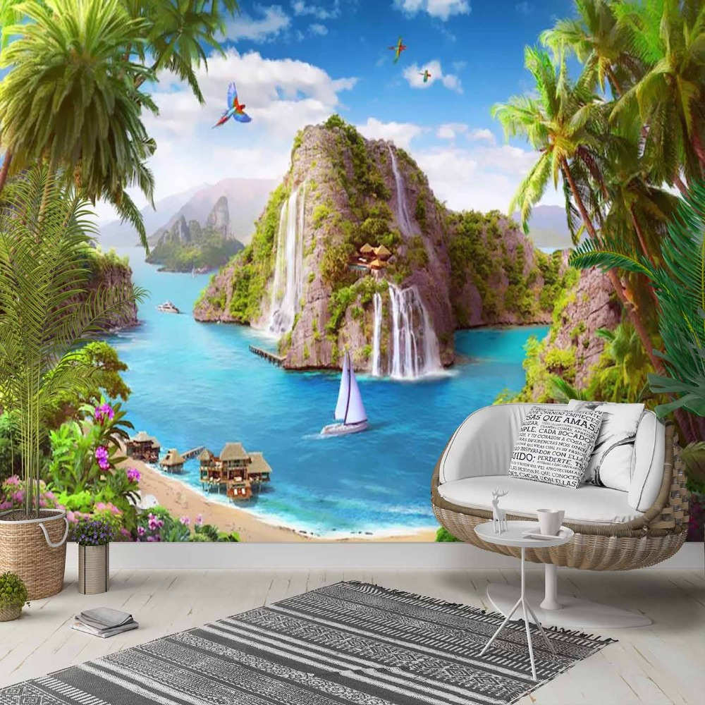 Else Green Palm Trees Sea Waterfall Island 3d Photo Cleanable Fabric Mural Home Decor Living Room Bedroom Background Wallpaper