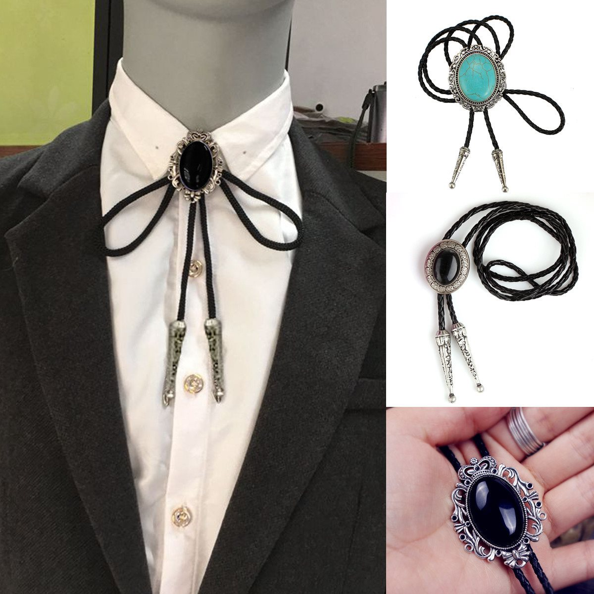 Indian Rhinestone Bolo Tie Dance Bola Tie PU Leather Necklace Flower Necktie Black Opal Western Cowboy Men Chain
