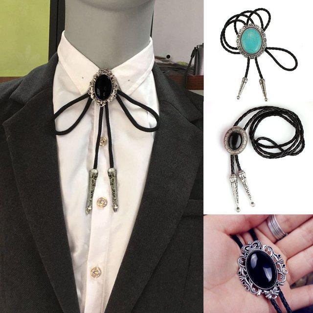 3d0391d83813 Indian Rhinestone Bolo Tie Dance Bola Tie PU Leather Necklace Flower Necktie  Black Opal Western Cowboy Men Chain