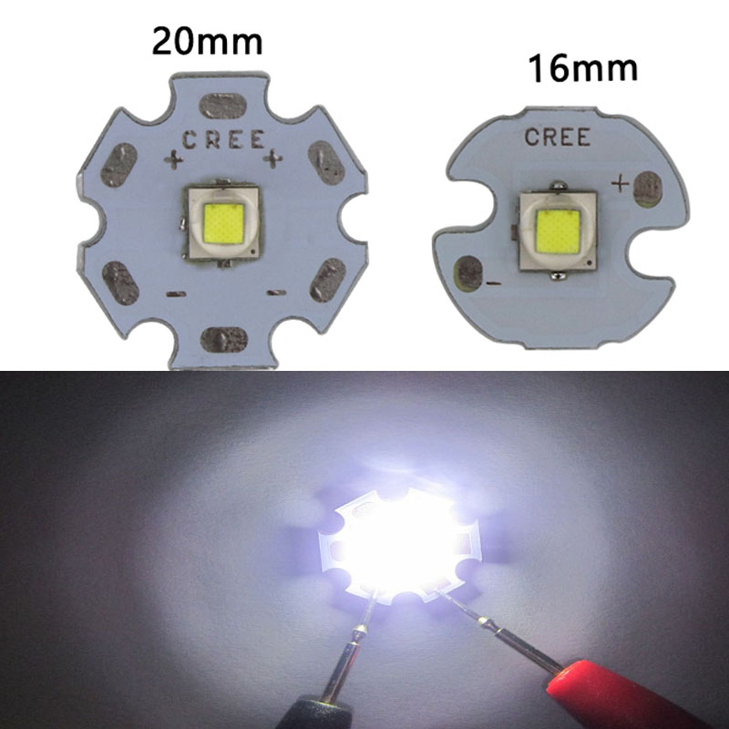 XML XM-L T6 LED 10W White High Power LED Emitter Diode Chip Beads with 16mm 20mm PCB for LED Headlamp DIY Flash Light