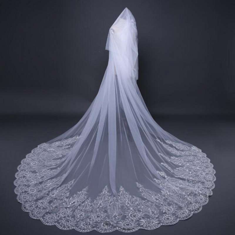a04983dfafb06 3 M Cathedral Length Bridal Veils Wedding Veil Long Bridal Veil Women  Crystals Sequin Lace Tulle Bride Veil Bride Accessories