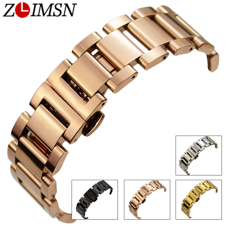 links ZLIMSN Watch Bands Solid Links 316L Stainless Steel Bracelets Deployment Clasp Quartz Wrist Sport Luxury Watchband Relogio