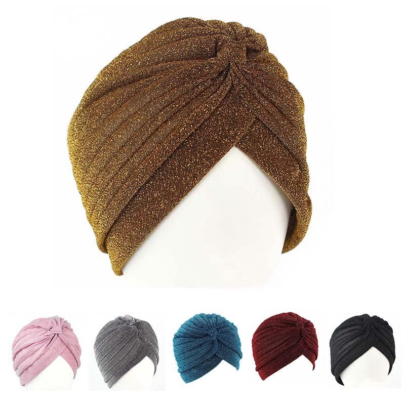 Women Gilrs Glitter Shinny Hats India Dome Caps Bohemia Skullies Beanies Spring Elastic Ear Warmer bonnet femme hair accessories