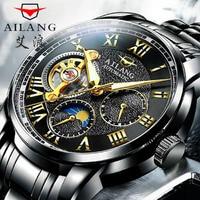Новый AILANG бренд класса люкс черный Tourbillon автоматические механические часы солнце и луна звезды из нержавеющей стали мужские часы