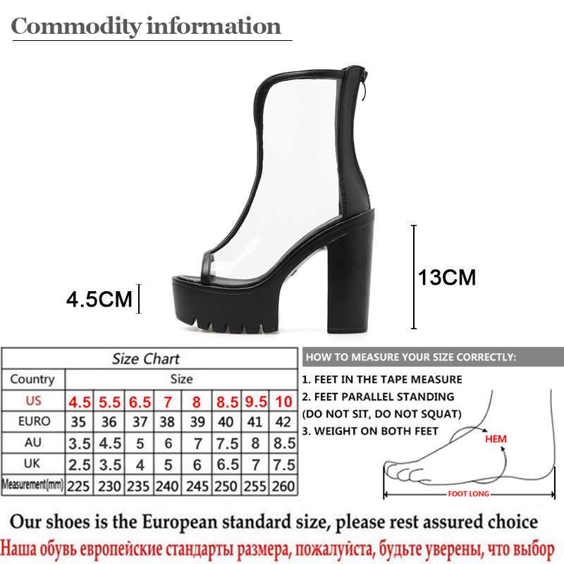 Gdgydh Sexy PVC Zomer Schoenen Enkellaarsjes vrouwen Schoenen Peep Toe Schoen Transparant Zwart Witte Bruiloft Schoenen Platform Hakken