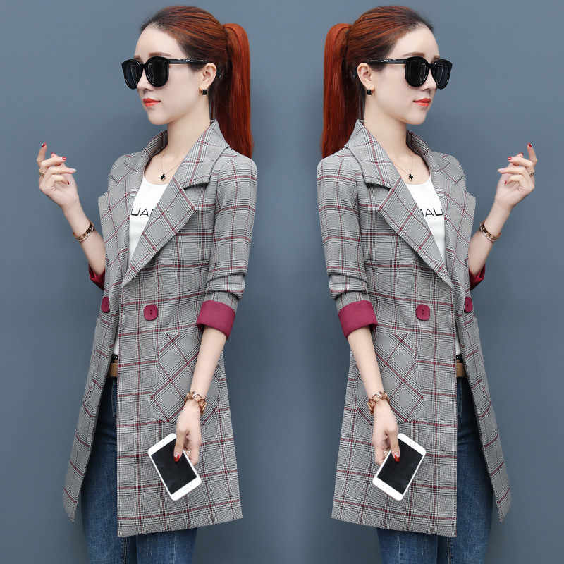 Trending products Lady trench coat Elegang women blazer Womens autumn clothes Korean Classic lattice coats high quality B4078