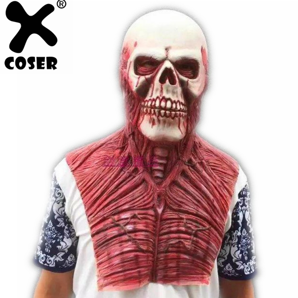XCOSER 2018 New Hot Halloween Cosplay Mask Zombie Mask Latex Bloody Scary Extremely Disgusting Full Face Mask For Masquerade