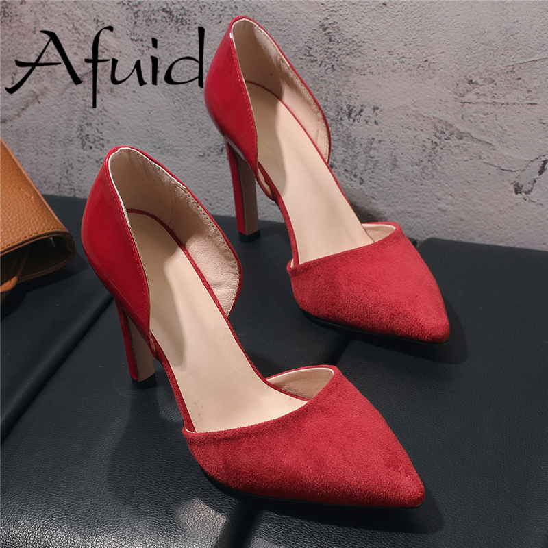 AFUID Office Career Work Shoes Women Classics High Heels 6cm Butterfly-Knot Genuine Leather Women Pumps Office Lady Shoes