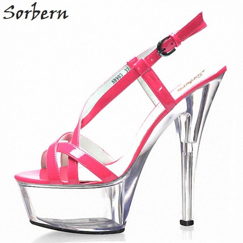 Sorbern 15 เซนติเมตร Clear รองเท้าส้นสูงสายคล้องรองเท้าแตะรองเท้าฤดูร้อนรันเวย์รองเท้าส้นหนาจีนขนาด 43 รองเท้าผู้หญิงรองเท้าแตะ-ใน รองเท้าส้นสูง จาก รองเท้า บน   2