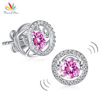 Peacock Star Pink Stud Dancing Stone Earrings Solid 925 Sterling Silver Created Diamante CFE8170