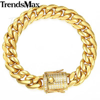 Trendsmax Miami Curb Mens Bracelet Chain 316L Stainless Steel Iced Out Cubic Zirconia CZ Gold Silver