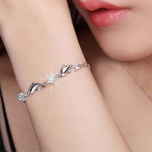 Silver Color Dolphin Shaped Chain Bracelet Jewelry