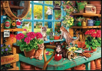 Needlework for embroidery DIY French DMC High Quality - Counted Cross Stitch Kits 14 ct Oil painting - Grandpa's Potting S