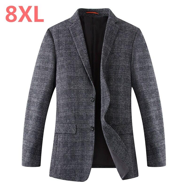 2018 8XL 6XL 5XL 4XL весна осень мужской повседневный костюм Блейзер приталенный мужской костюм куртка Повседневная Деловая мужская хлопковая курт