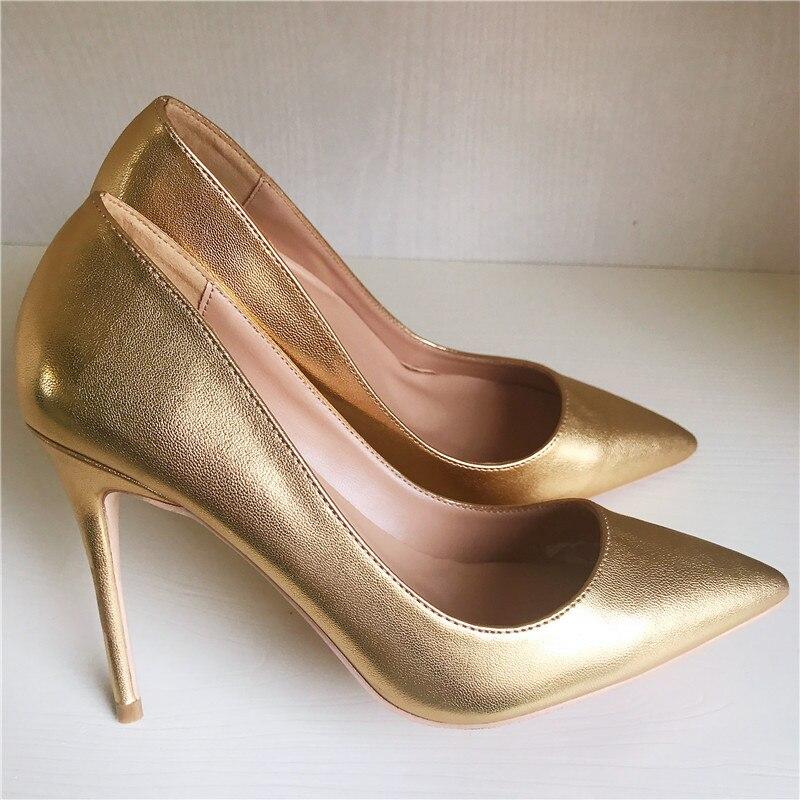 Бесплатная доставка моды женщины Насосы Золото Матовая кожа С Острым Носом высокие каблуки обуви size33-43 12 см 10 см 8 см партия свадебные туфли