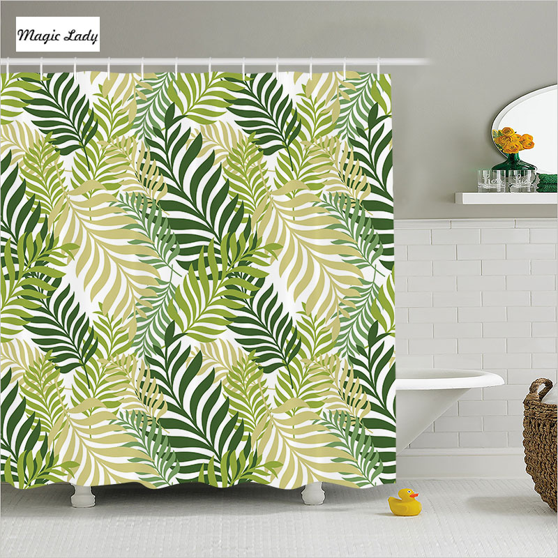 Shower Curtains Fabric Green Bathroom Accessories Leaves Tropical Palm Tree  Botanical Graphic White 180*200 Cm In Shower Curtains From Home U0026 Garden On  ...