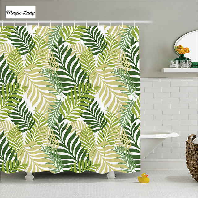 Shower Curtains Fabric Green Bathroom Accessories Leaves Tropical Palm Tree Botanical Graphic White 180200 Cm