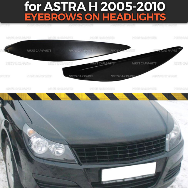 Eyebrows on headlights case for Opel Astra H 2005 2010 ABS plastic cilia eyelash molding decoration car styling tuning