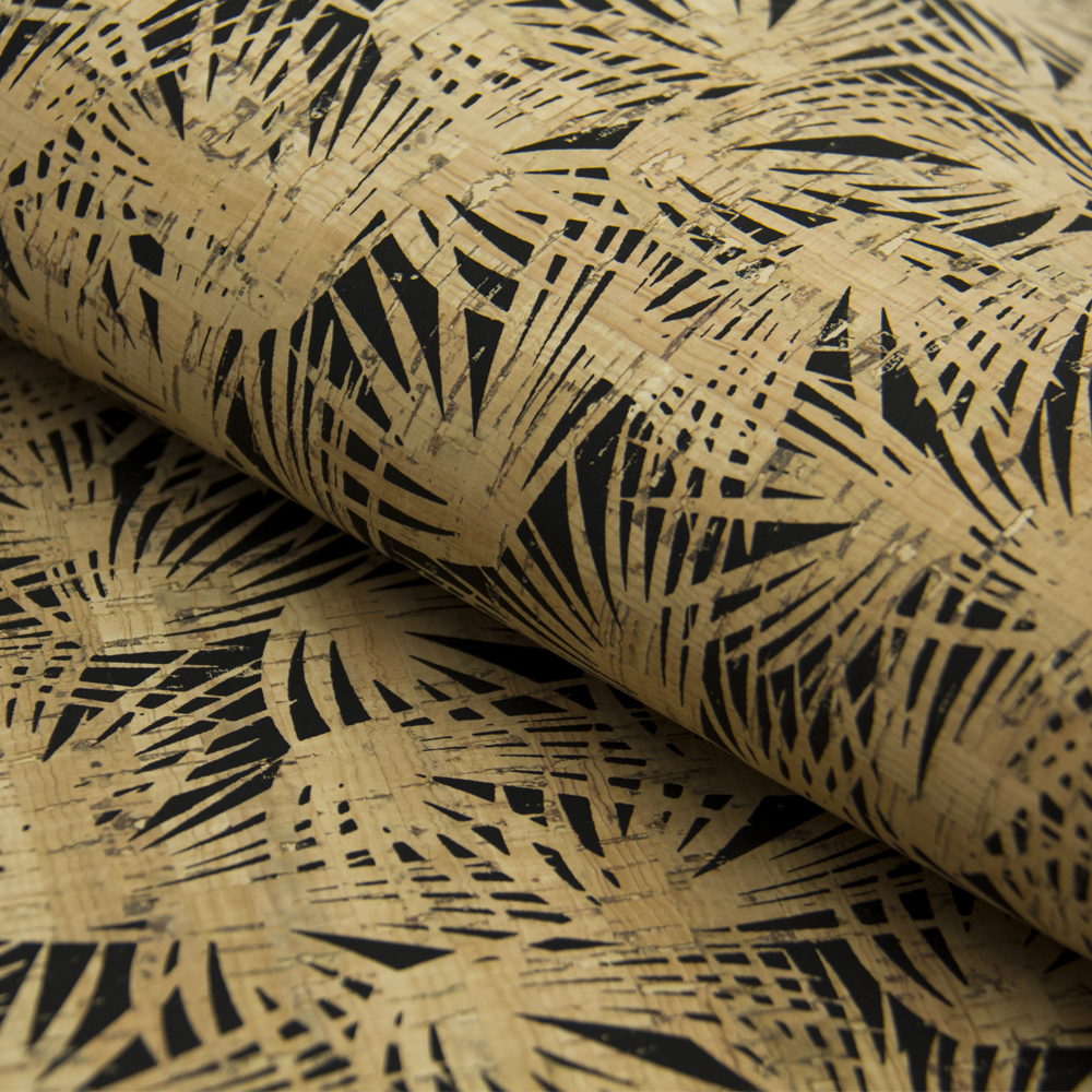 PORTUGAL cork fabric ropical leafs with black pattern Cork leather Vegan waterproof Abrasion resistance fabric COF-172 fpvo 1 black fabric 70