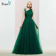 Dressv dark green evening dress a line elegant sleeveless floor-length pleats wedding party formal dresses