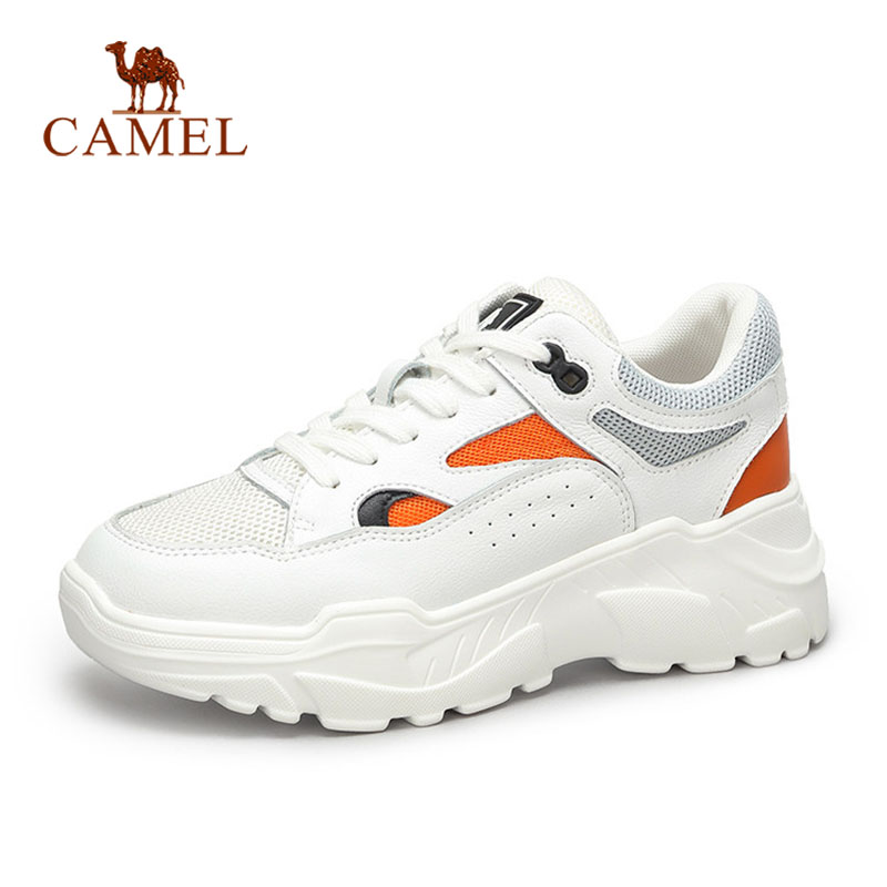 e9732c36b98 CAMEL New Fashion Sneakers Women Tenis Casual Shoes For Ladies Genuine  Leather High Platform Retro Female White Shoes Women