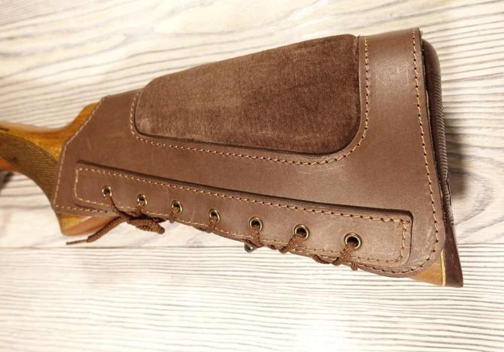 Brown ButtStock Cover Rifle Ammo Holder Cheek Rest Padded - Real Leather