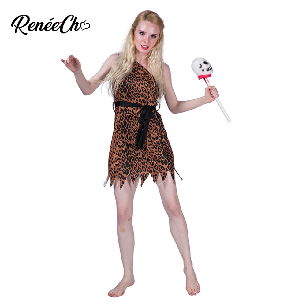 Reneecho Wild Cavewoman Costume Women Costume For Halloween One Shoulder Off Sexy Short Leopard Dress With Belt Set
