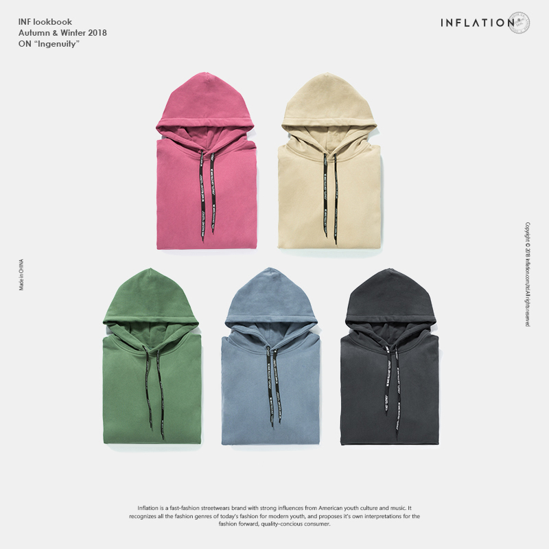 INFLATION 2018 Autumn Winter New Men Women Hip Hop Streetwear Pullover Solid Cotton Hoodie Brand Clothing Hooded 8777W