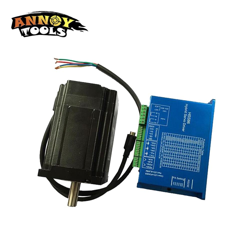 ANNOYTOOLS sistema servo híbrido fácil nema 34 motor paso a paso de circuito cerrado y controlador 8.0 N.m 6.0A 1.8 grados 118 mm 86HSE8N-BC38