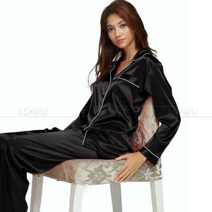 Image 3 - Nữ Lụa Satin Bộ Đồ Ngủ Pyjamas Bộ Đồ Ngủ Loungewear U. s. s6, M8, M10, L12, L14, L16, L18, L20 S ~ 3XL Plus Kích Thước