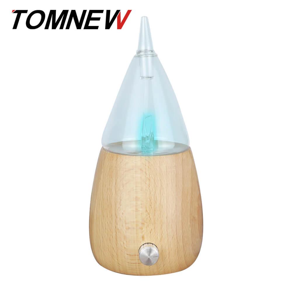 TOMNEW di Olio Essenziale di Vetro Macchina di Legno Diffusore di Aroma Aromaterapia Mist Fogger del Creatore Della Foschia di Incenso Aromatico con 7 Colori di Luce LED