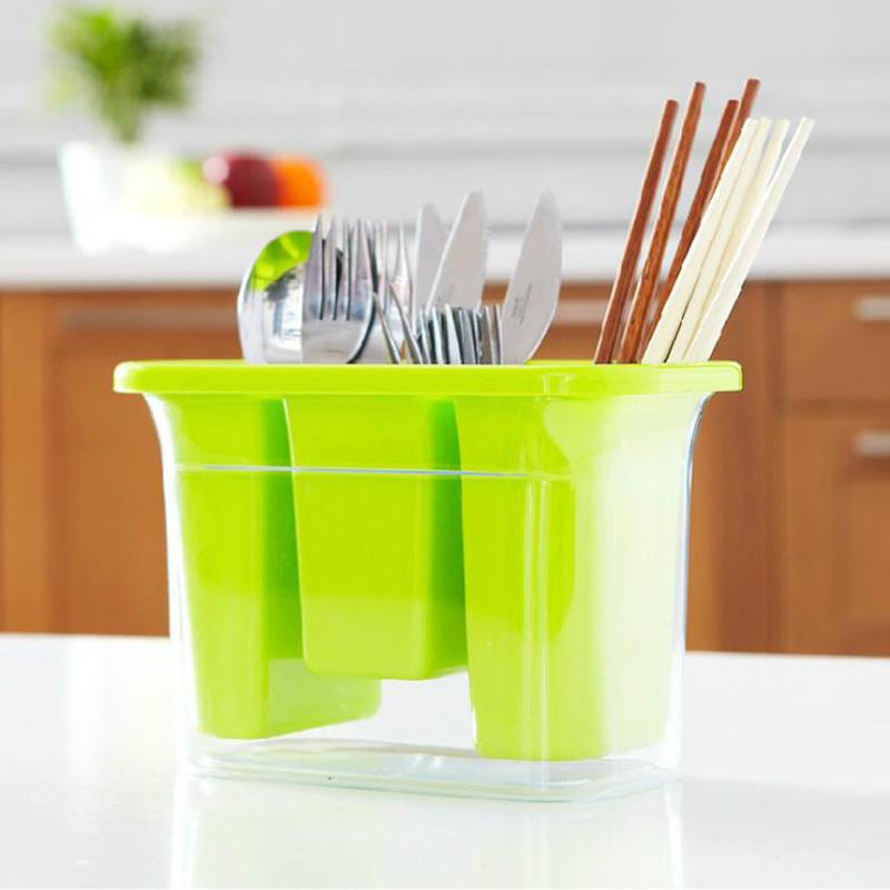 hoomall de cocina hogar cuchara palillos sostenedor del estante de drenaje cubiertos de plstico caja