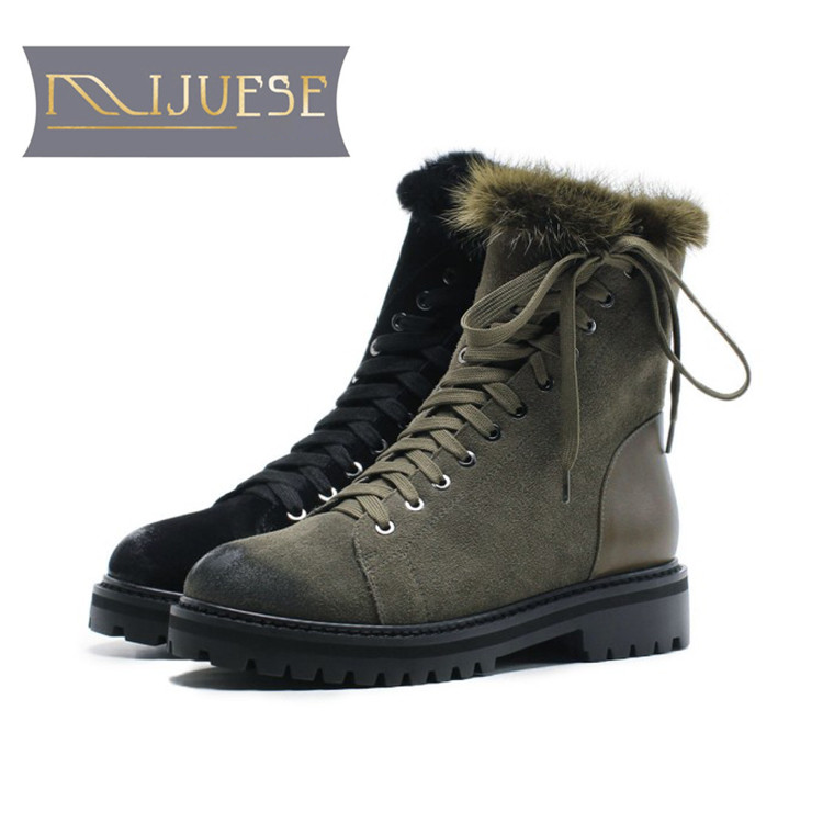 MLJUESE 2019 women Mid calf boots cow Suede green color lace up wool fur warm winter short plush women martin boots size 34-43 marulong s0002 women s fashionable flower pattern short sleeved nightdress green multi color