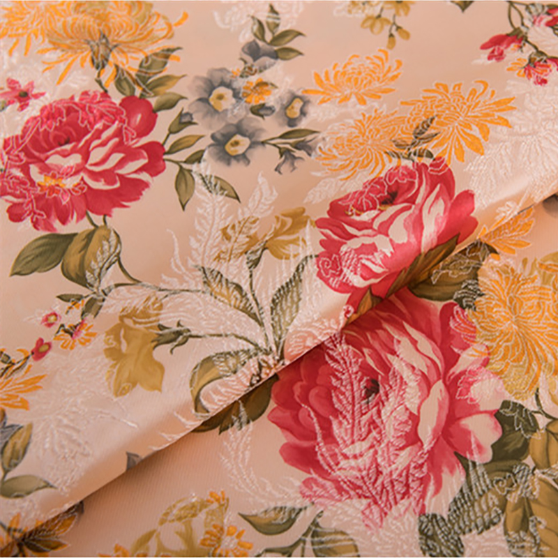 new arrival brocade polyester white peony flower fabric for felt patchwork tissue telas dress bed sheet children cloth 100x75cm