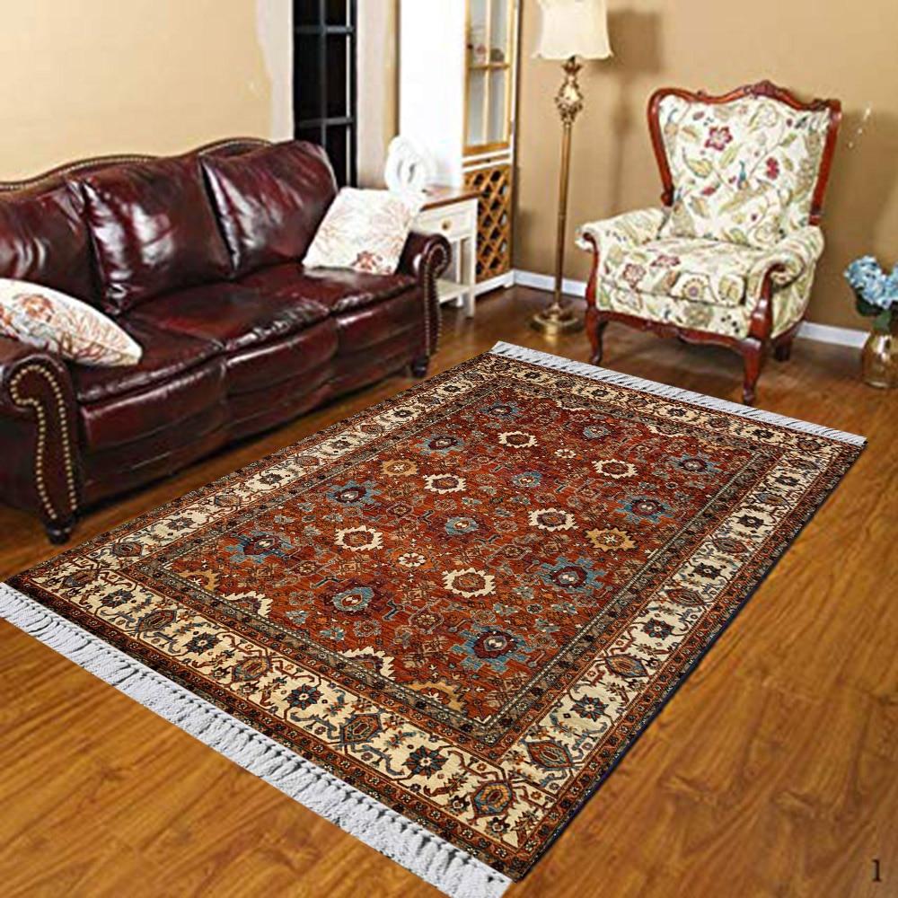 Else Brown Red Cream Morocco Authentic 3d Print Anti Slip Kilim Washable Decorative Floor Rug Bohemian Carpet For Living Room