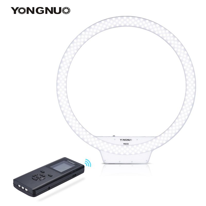 YONGNUO YN308 Wireless Remote LED Ring Light Video Light 5500K Color Temperature for Photography supports batteries NP-Fand DC