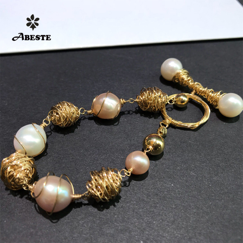 ANI 14K Roll Gold Handmade Women Bracelet Freshwater White Pearl Roll Gold Special Design Fine Jewelry Customized for Lady